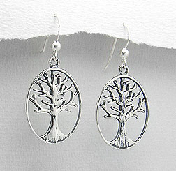 Tree Of Life Earrings with Intricate Engraving | Sterling Silver