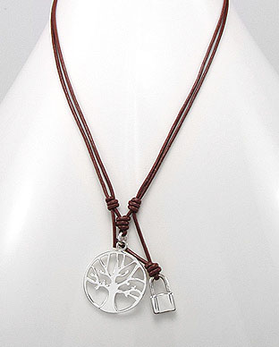 Tree Of Life Pendant on Red Leather Necklace Cord with Padlock