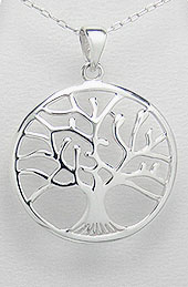Tree of Life Sterling Silver Pendant with Convex Contour