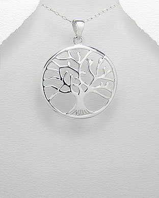 Tree of life pendant convex contour sterling silver tree of life sterling silver pendant with convex contour mozeypictures Gallery